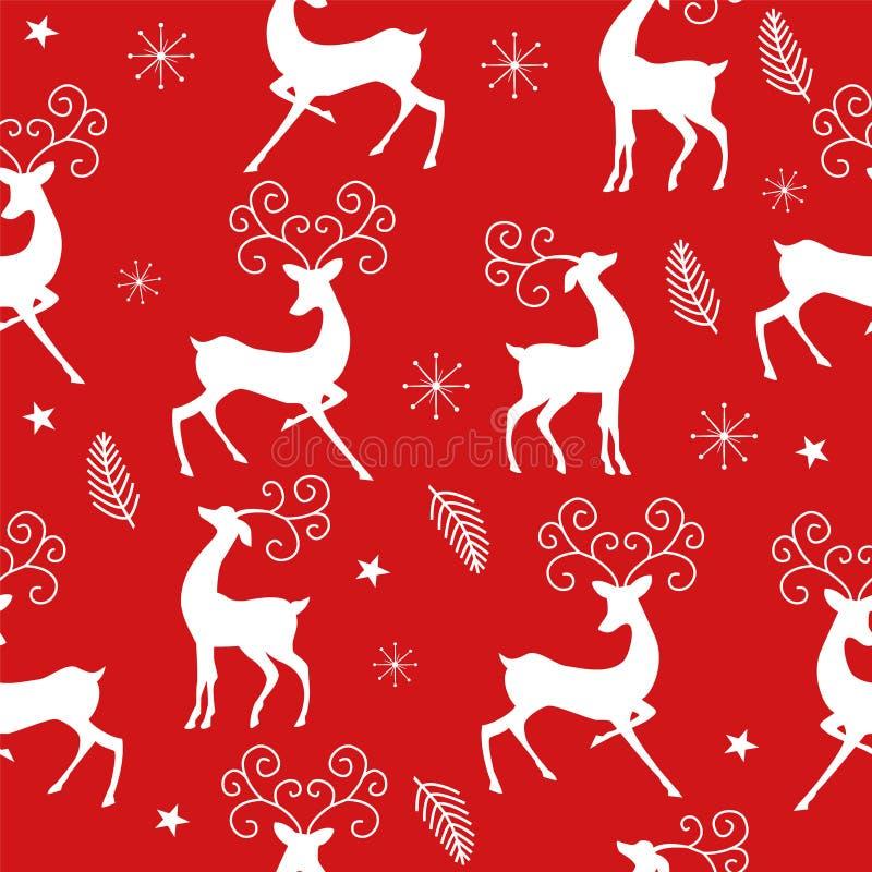 Teste padrão do Natal com a rena no fundo vermelho ilustração do vetor