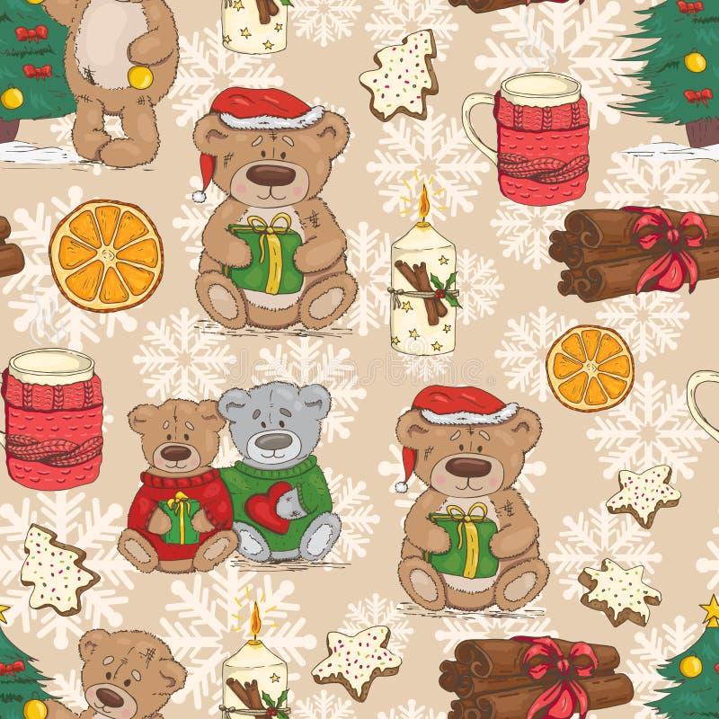 Teste padrão do Natal com ursos, cookies e especiarias de peluche ilustração do vetor