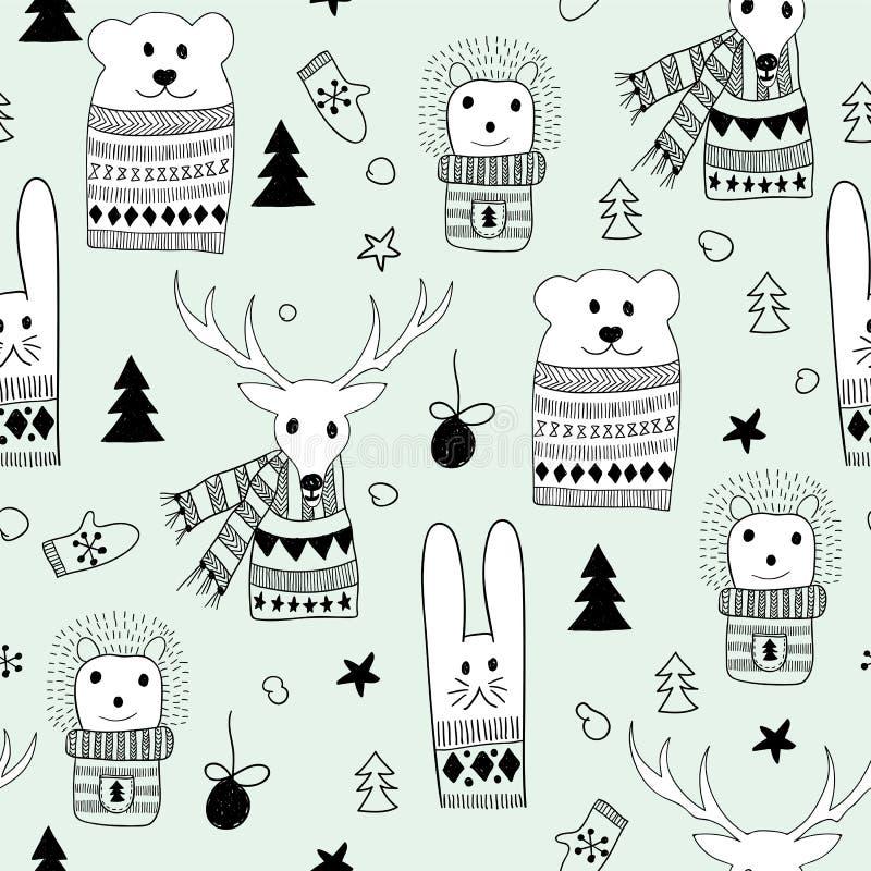 Teste padrão do Natal de Seamlee do vetor com animais da garatuja ilustração royalty free