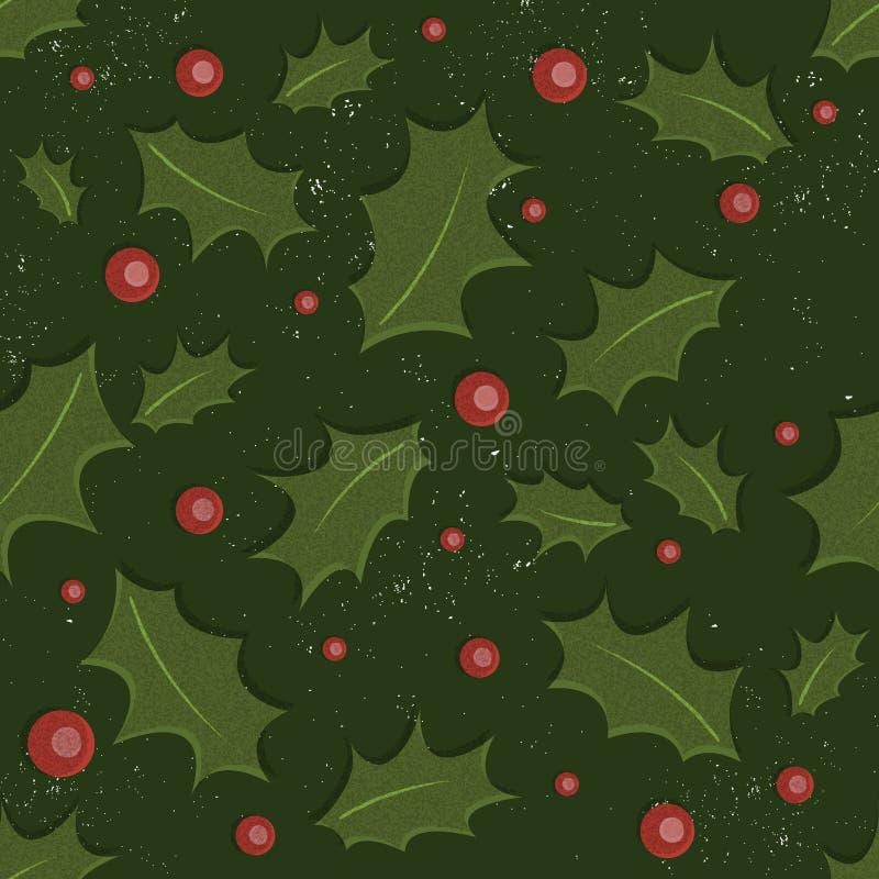 Teste padrão do Natal do azevinho ilustração do vetor