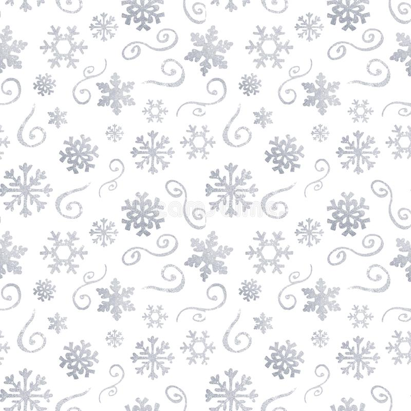 Teste padrão do Natal do inverno com as silhuetas brancas e de prata dos flocos de neve, bagas, folhas, ramos, boneco de neve, ár ilustração royalty free