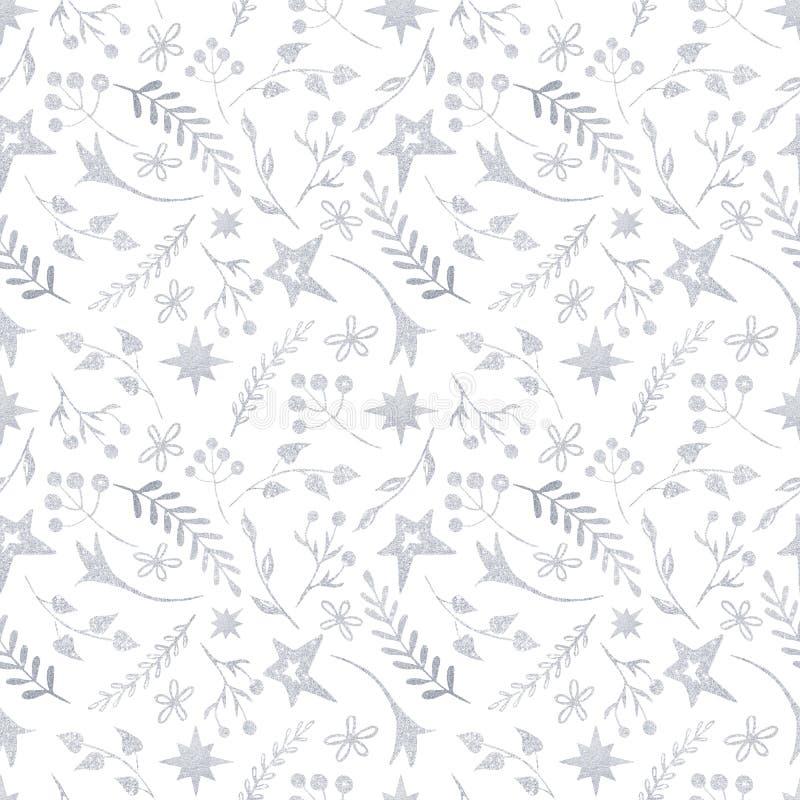 Teste padrão do Natal do inverno com as silhuetas brancas e de prata dos flocos de neve, bagas, folhas, ramos, boneco de neve, ár ilustração stock
