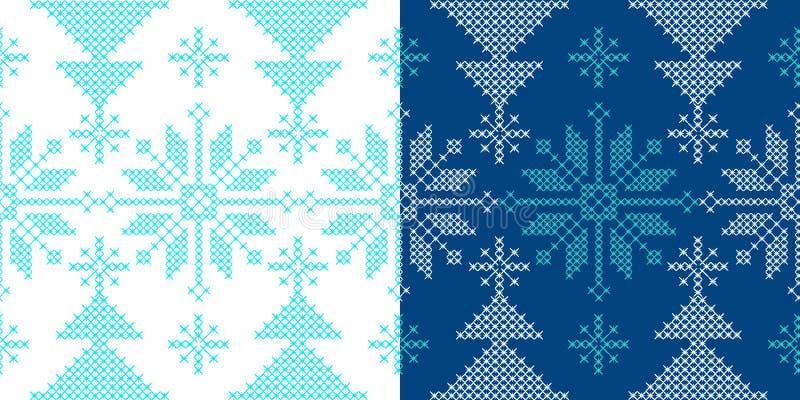 Teste padrão do ornamento dos feriados com neve e árvore do xmas imagem de stock royalty free
