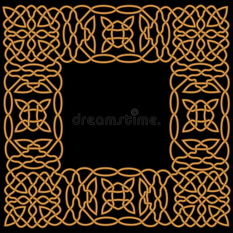 Teste padrão do ouro em um quadro no árabe ou de estilo celta ilustração royalty free