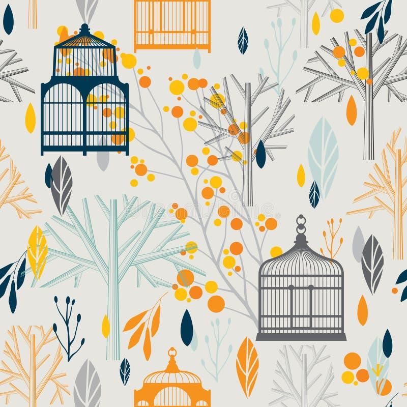 Teste padrão do outono com os birdcages do vintage em retro ilustração stock