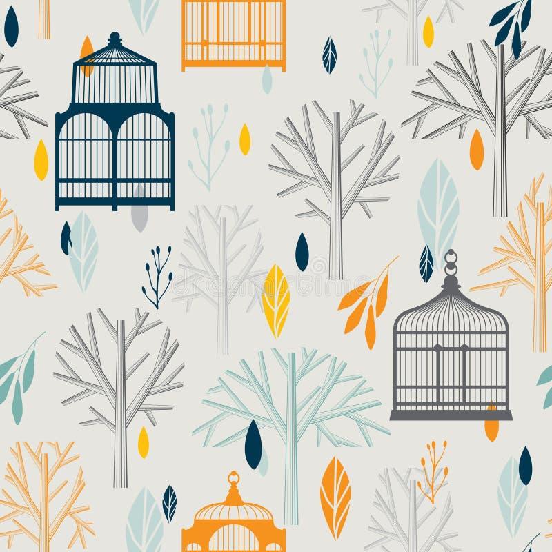 Teste padrão do outono com os birdcages do vintage em retro ilustração do vetor