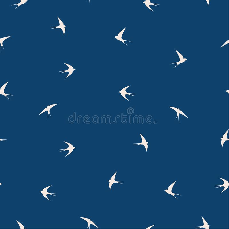 Teste padrão do pássaro da andorinha ilustração royalty free
