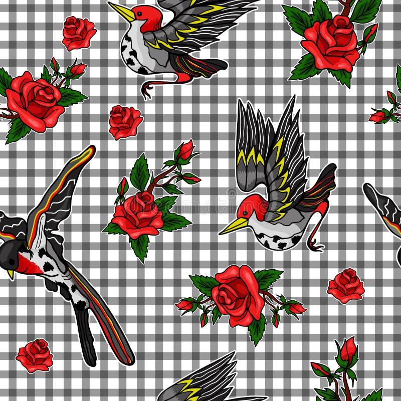 Teste padrão do pássaro de voo e das etiquetas das rosas vermelhas ilustração do vetor