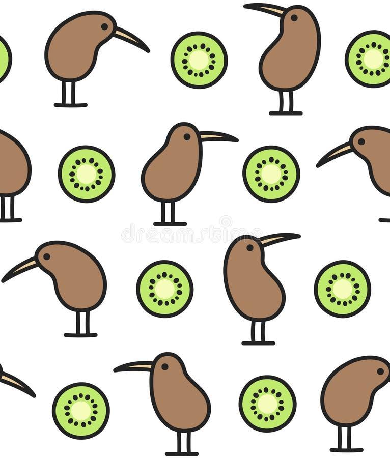 Teste padrão do pássaro e do fruto do quivi ilustração royalty free