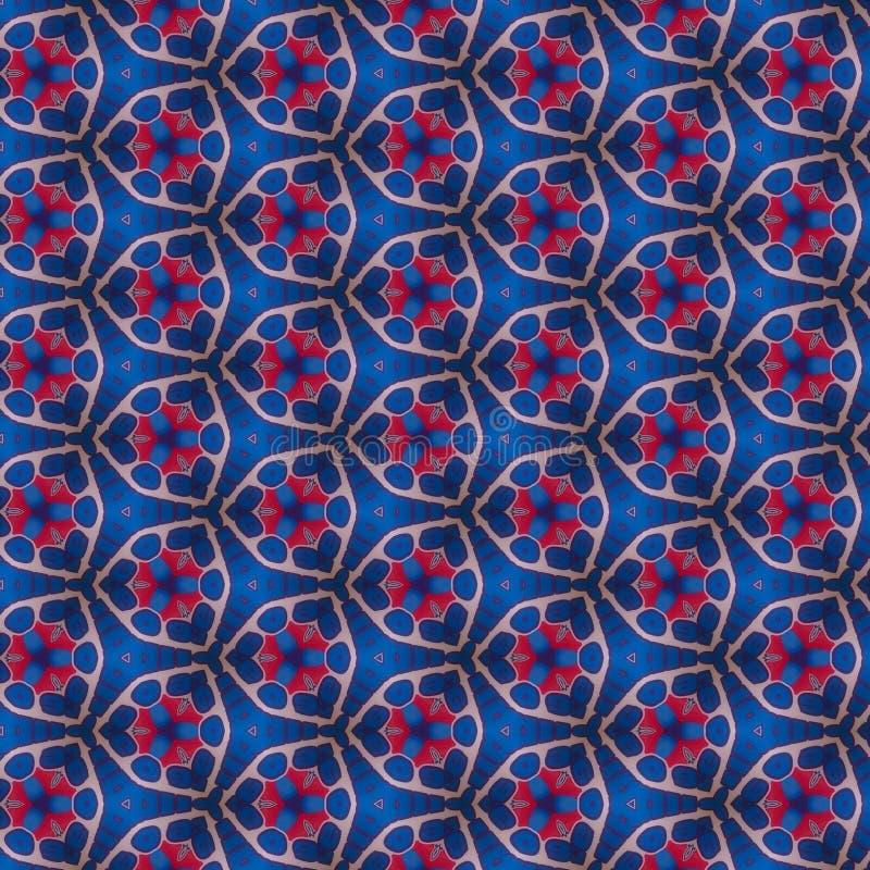 Teste padrão do papel do caleidoscópio do vermelho azul fotografia de stock royalty free