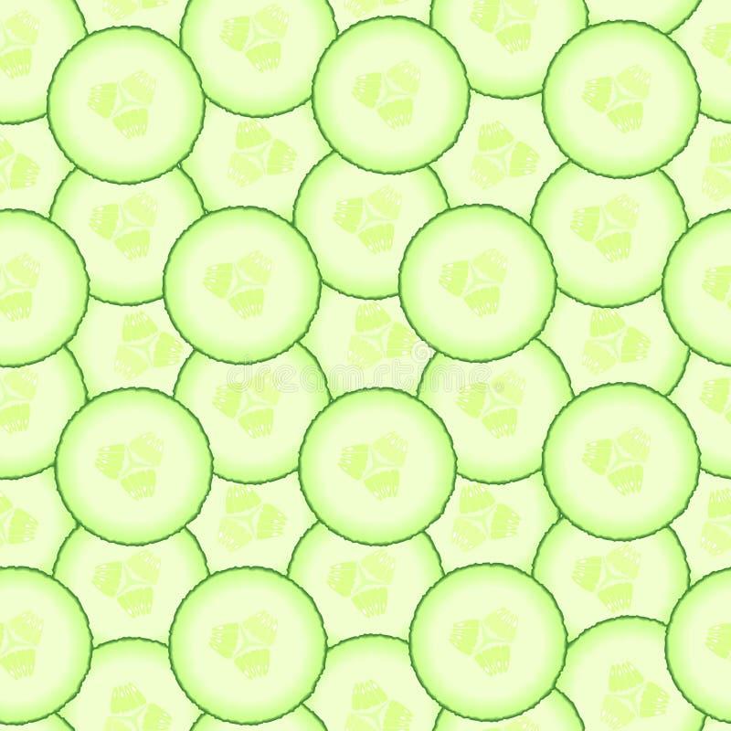 Teste padrão do pepino Fundo sem emenda das fatias de vegetal Alimento biológico saudável da dieta Salada do ingrediente Desbasto ilustração stock