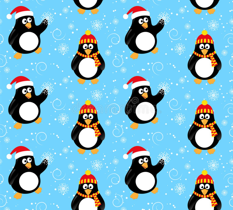 Teste padrão do pinguim do inverno ilustração royalty free