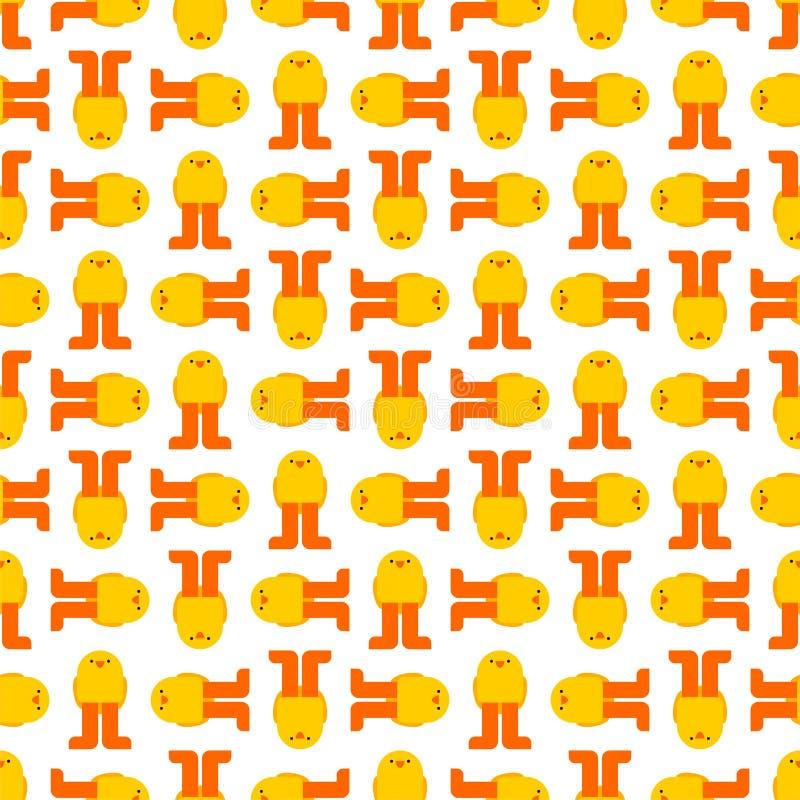 Teste padrão do pintainho sem emenda Pouco fundo do estilo dos desenhos animados da galinha Textura da tela do bebê ilustração stock