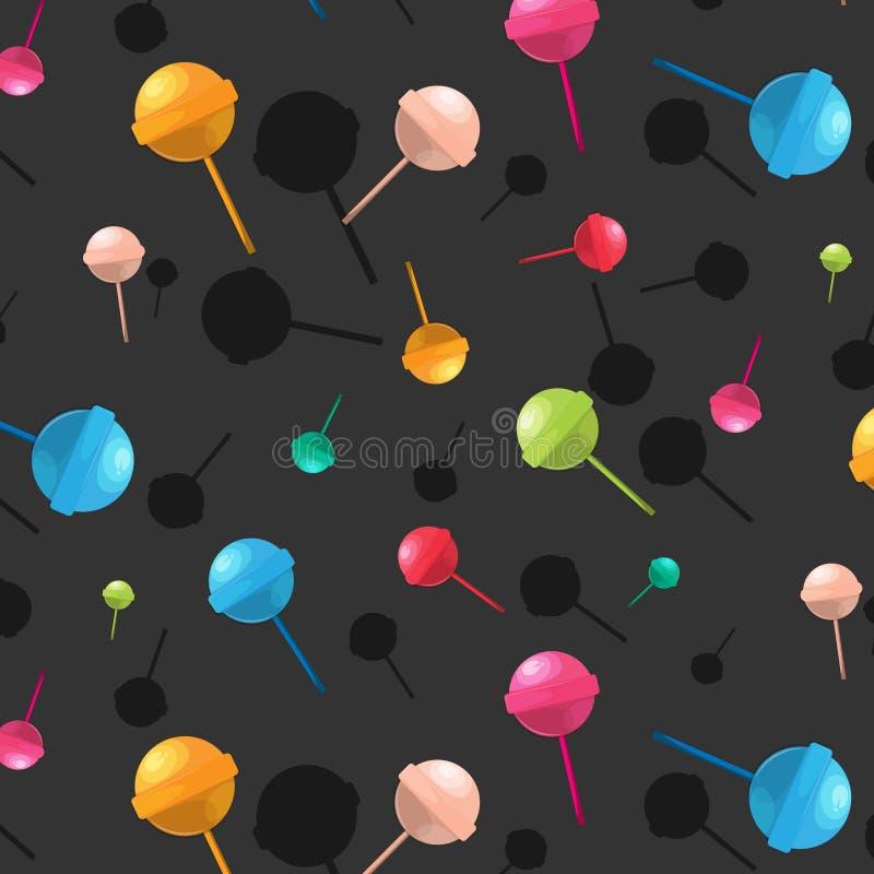 Teste padrão do pirulito do vetor Textura dos doces da sobremesa dos desenhos animados Cópia deliciosa do açúcar colorido Decoraç ilustração royalty free