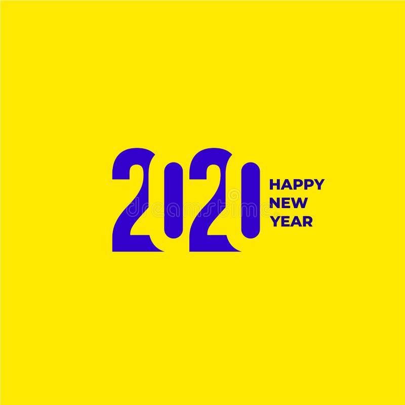 teste padrão 2020 do projeto do texto Coleção do ano novo feliz e boas festas Ilustração do vetor Isolado no fundo amarelo ilustração stock