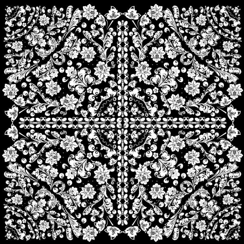 Teste padrão do quadrado branco com ondas florais ilustração do vetor
