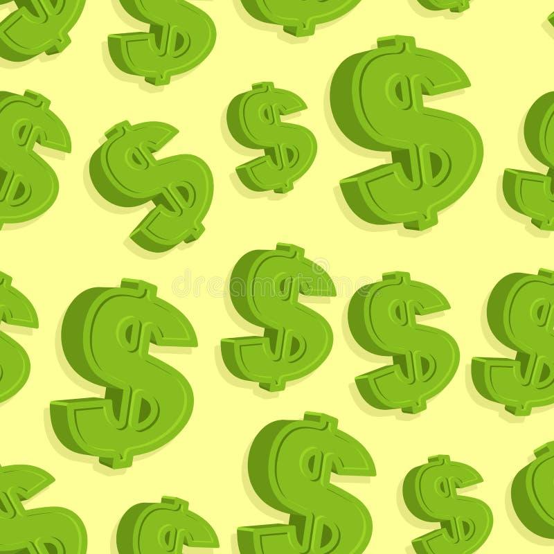 Teste padrão do sinal de dólar sem emenda Fundo abstrato do vetor ilustração stock