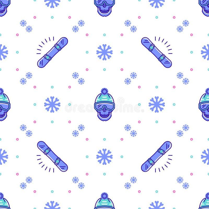 Teste padrão do Snowboard, projeto sem emenda do esporte de inverno Linha na moda ícones da snowboarding ilustração do vetor