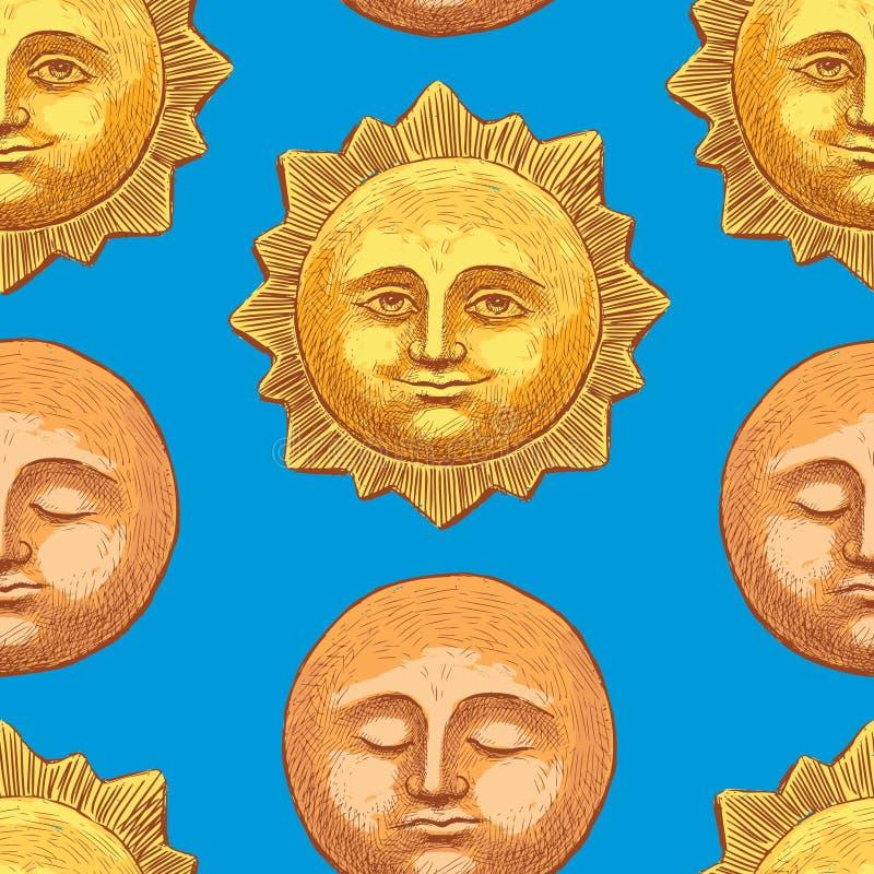 Teste padrão do sol e da lua na tarde ilustração stock