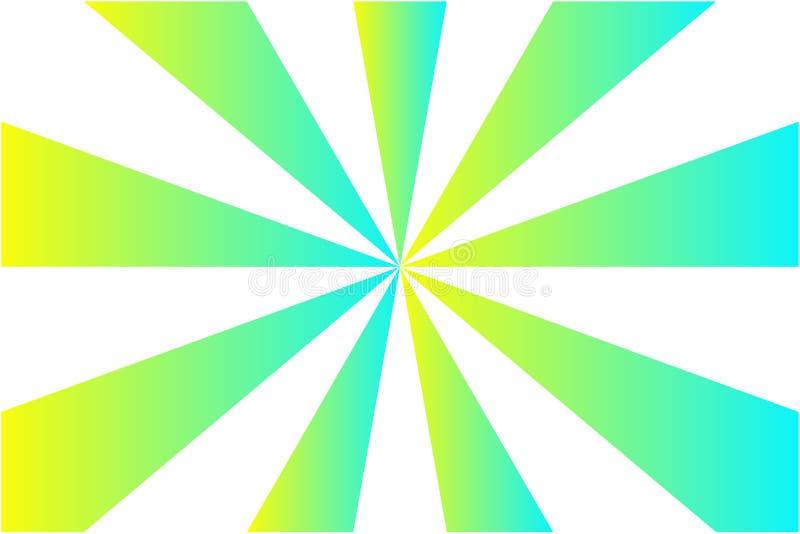 Teste padrão do sunburst, azul do inclinação, verde, e cores abstratos do raio do amarelo no fundo transparente branco Ilustração ilustração royalty free