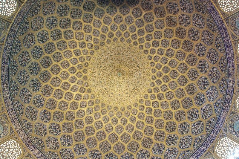 Teste padrão do teto no Sheikh Lotf Allah Mesquita fotos de stock