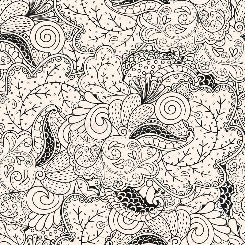 Teste padrão do tracery de Mehendi, hindi sem emenda, feito a mão ilustração stock