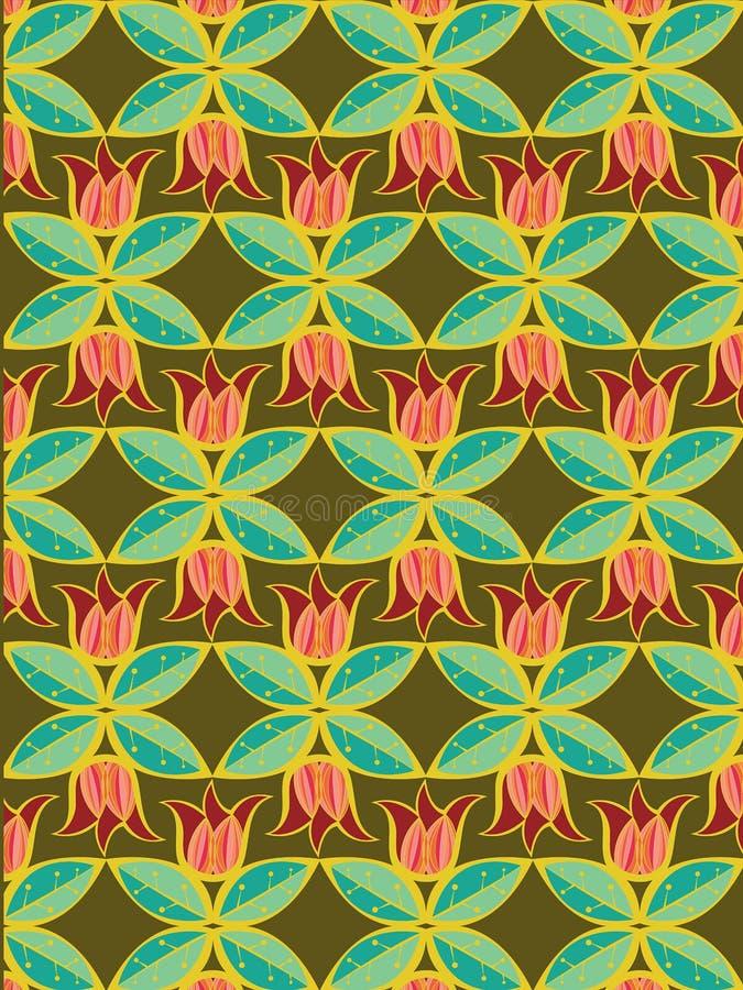 Teste padrão do Tulip e das folhas ilustração stock