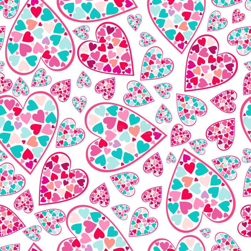 Teste padrão do Valentim com corações do amor. imagem de stock royalty free