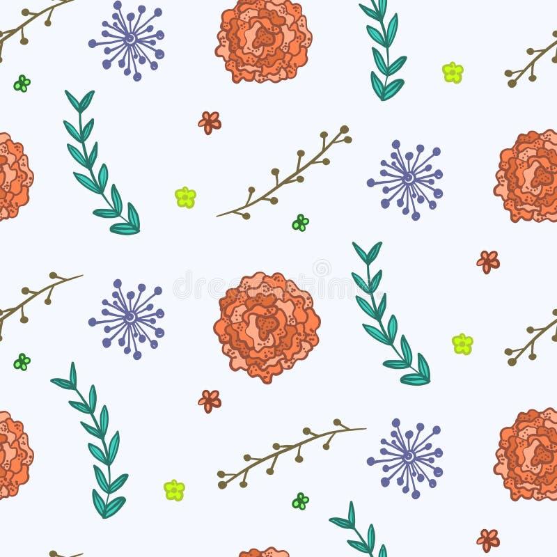 Teste padrão do verão com flores e os galhos alaranjados ilustração do vetor