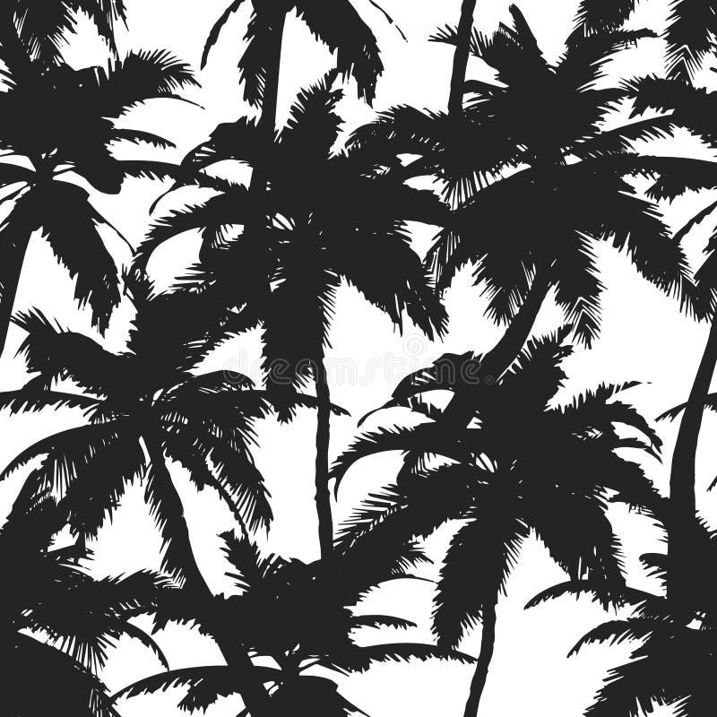Teste padr?o do ver?o com palmeiras tropicais Para a mat?ria t?xtil, textura, c?pias, papel de parede, projeto do t-shirt Ilustra ilustração do vetor