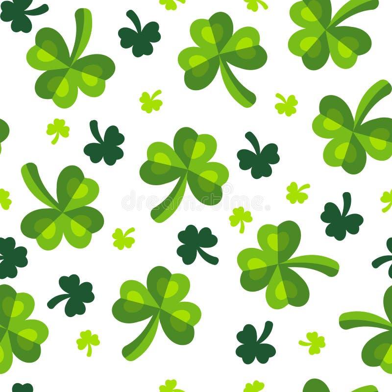 Teste padrão do verde do trefoil do trevo do dia de St Patrick foto de stock royalty free