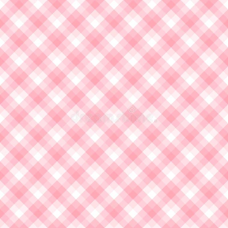 Teste padrão do verificador nas matiz no rosa e no branco ilustração stock