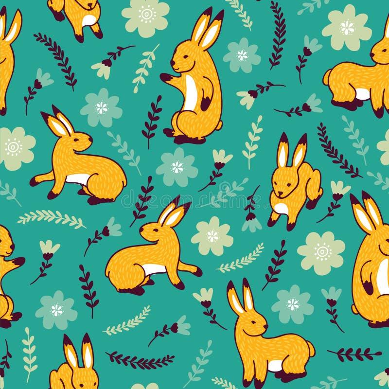 Teste padrão do vetor com coelhos e flores ilustração royalty free