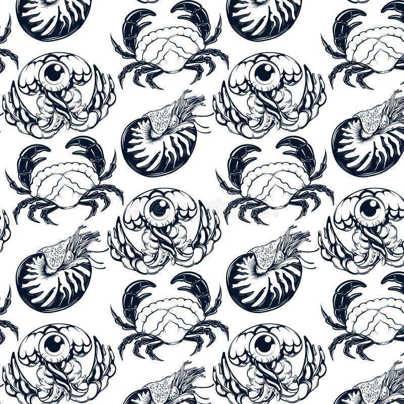 Teste padrão do vetor com ilustração tirada mão de medusas, caranguejo, nautilus ilustração do vetor
