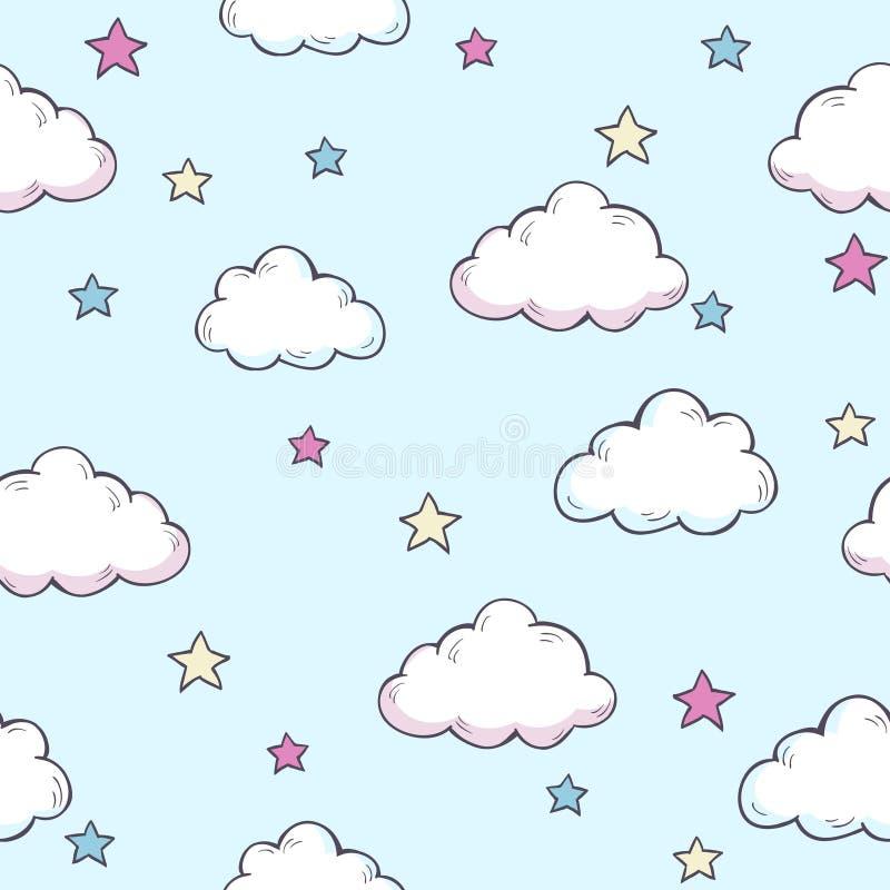 Teste padrão do vetor com nuvens ilustração royalty free