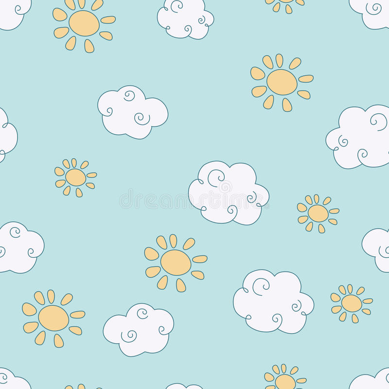 Teste padrão do vetor com nuvens ilustração stock