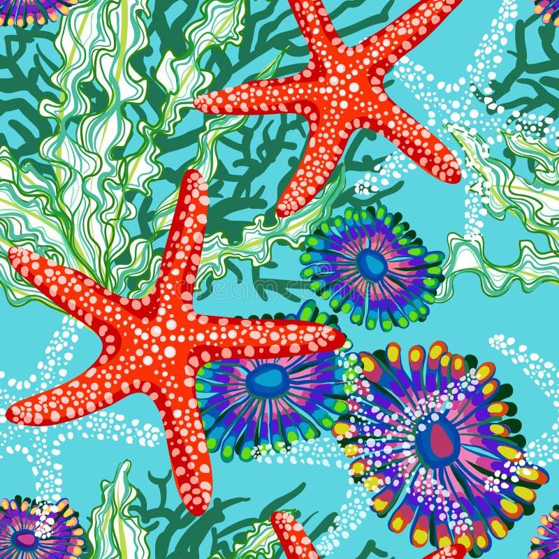 Teste padrão do vetor com o mar sob a água floral ilustração do vetor
