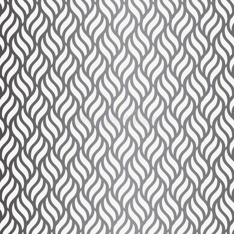 Teste padrão do vetor com ondas geométricas Textura à moda infinita Fundo do monochrome da ondinha ilustração stock