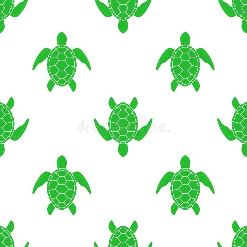 Teste padrão do vetor com tartaruga de mar Textura com silhueta da tartaruga ilustração stock