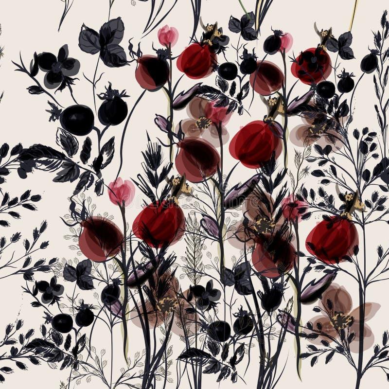 Teste padrão do vetor da flor com plantas Estilo do provance do vintage para o de ilustração do vetor