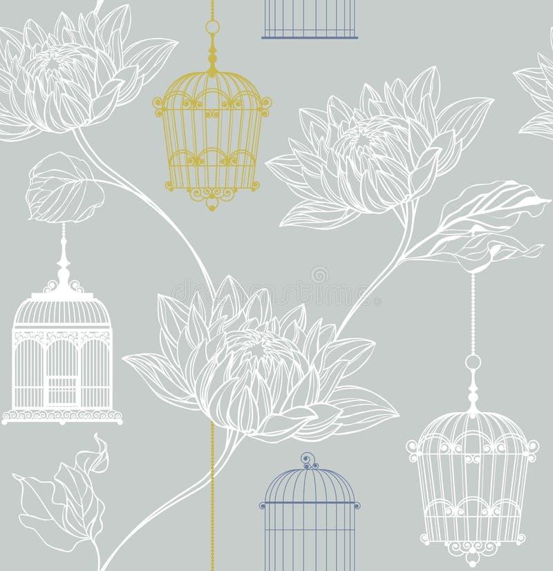 Teste padrão do vetor das flores e do birdcage ilustração do vetor