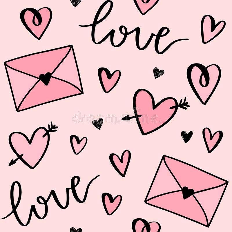 Teste padrão do vetor do dia de Valentim dos desenhos animados com corações, cartas de amor, os envelopes e amor tirados mão das  ilustração do vetor