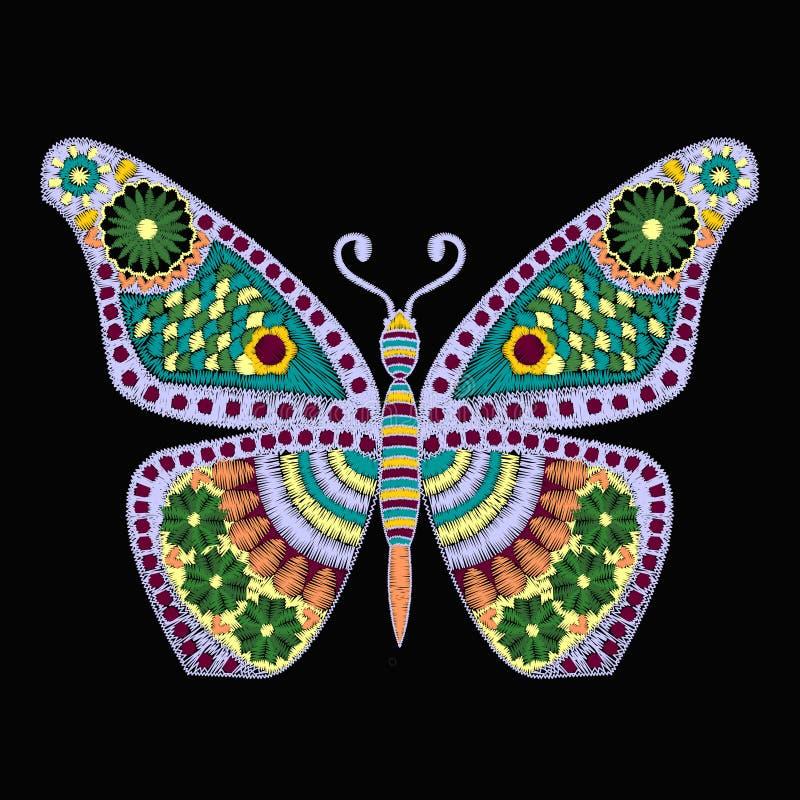 Teste padrão do vetor do bordado com a borboleta no fundo preto ilustração royalty free
