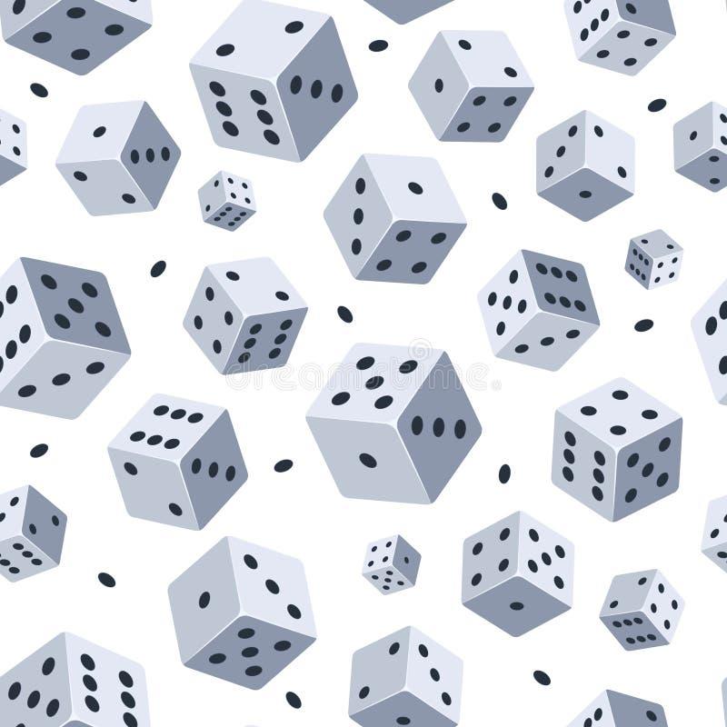 Teste padrão do vetor dos dados Fundo sem emenda com imagem dos dados Ilustrações para o clube ou o casino do jogo ilustração stock