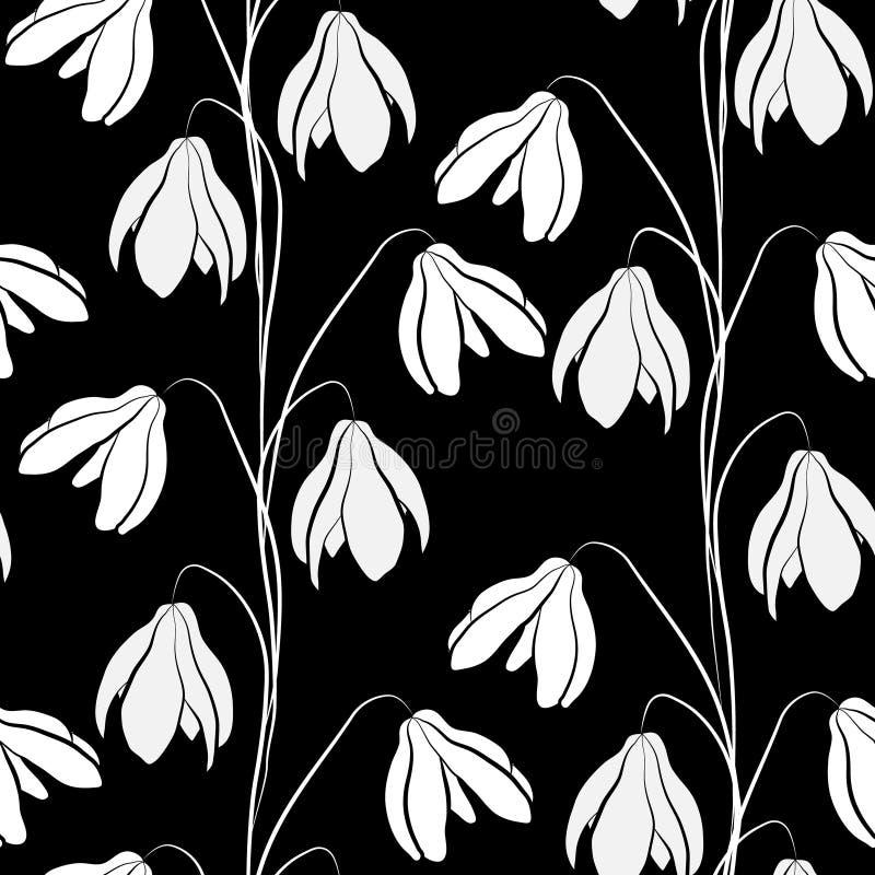 Teste padrão do vetor dos snowdrops brancos no fundo preto ilustração do vetor