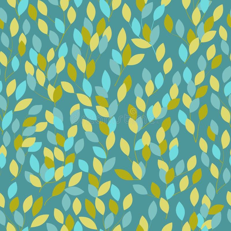 Teste padrão do vetor fundo azul, folhas, pulverizador ilustração royalty free