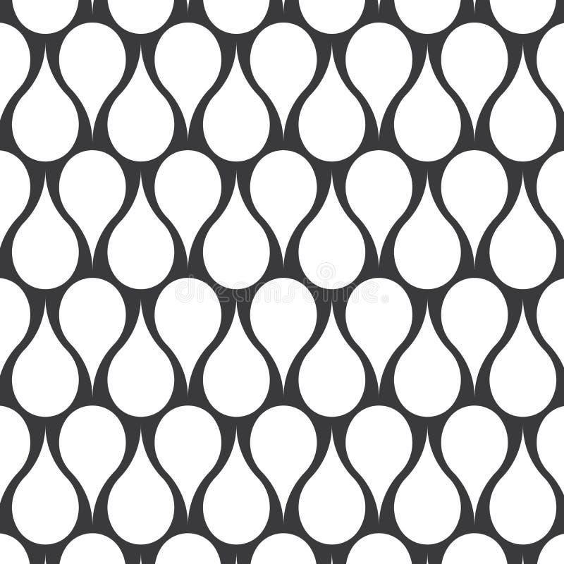 Teste padrão do vetor gota abstrata da simetria do monochrome à moda da água Teste padrão diagonal da listra e do círculo ilustração do vetor