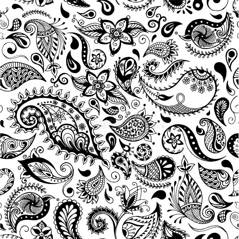Teste padrão do vetor Ilustrações detalhadas sem emenda das flores O estilo da garatuja, salta fundo floral ilustração do vetor