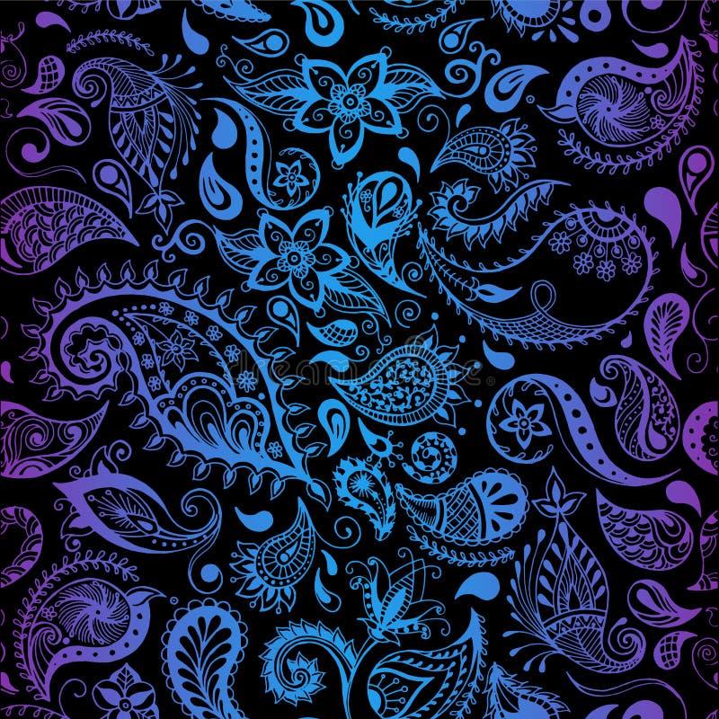 Teste padrão do vetor Ilustrações detalhadas sem emenda das flores O estilo da garatuja, salta fundo floral ilustração stock