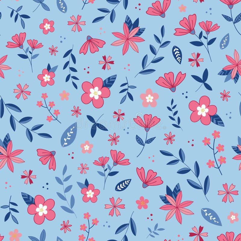 Teste padrão do vetor do jardim da flor da flor Luz - fundo azul Ilustração ilustração stock